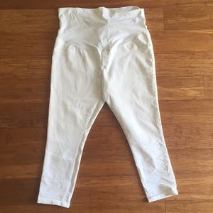 Maternity Ankle Skinny Full Panel White Jeans XXL